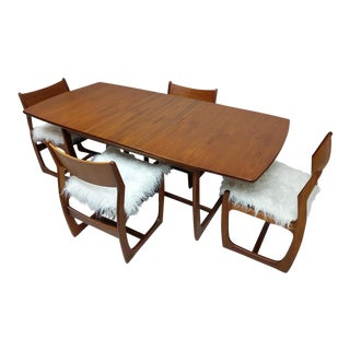 Teak Mid Century Dining Table With Faux Mongolian Lambs Wool Chairs For Sale