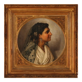 Late 19th Century Portrait of Italian Woman Oil Painting by Wenzel Tornøe, Framed For Sale