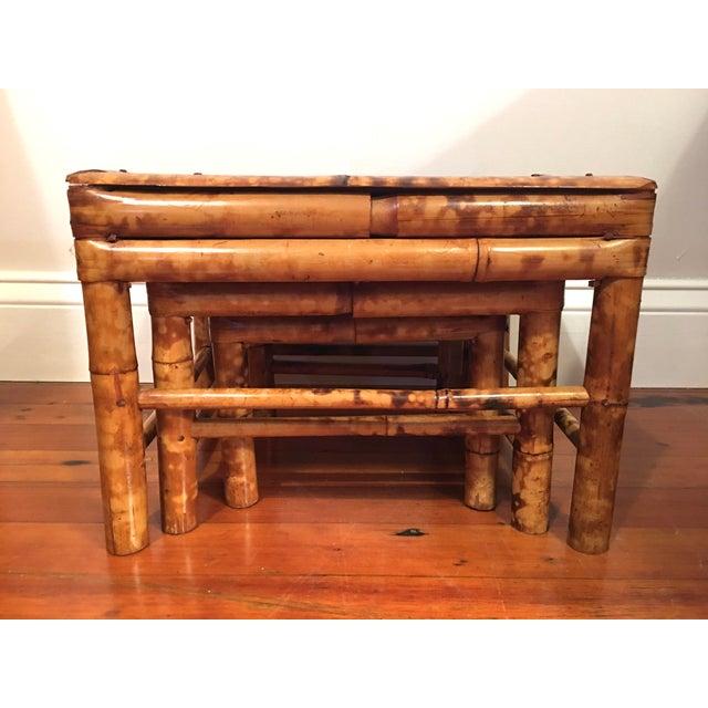 Vintage Tortoise Burnt Bamboo Nesting Stools - Set of 3 - Image 2 of 9