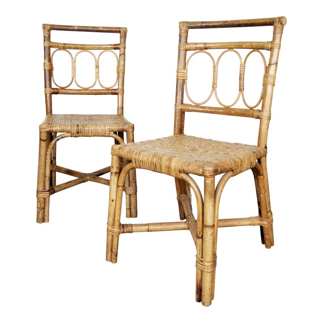 Antique 1920's Bamboo & Rattan Chairs - A Pair For Sale