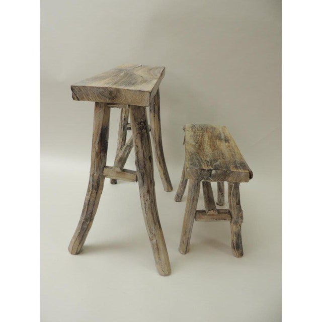 Vintage Asian White Washed Rubbed Wood Painted Artisanal Side Tables - A Pair For Sale In Miami - Image 6 of 8