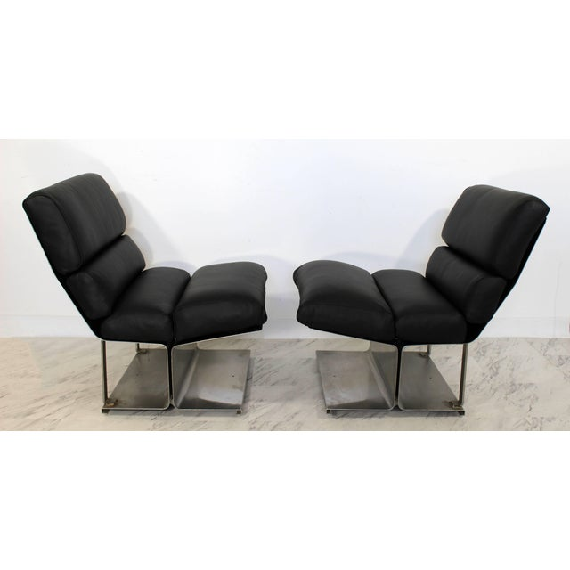 1970s Mid-Century Modern Paul Geoffroy Uginox Steel Leather Lounge Chairs - a Pair For Sale In Detroit - Image 6 of 6