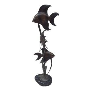 Vintage Bronze Fish Sculpture For Sale