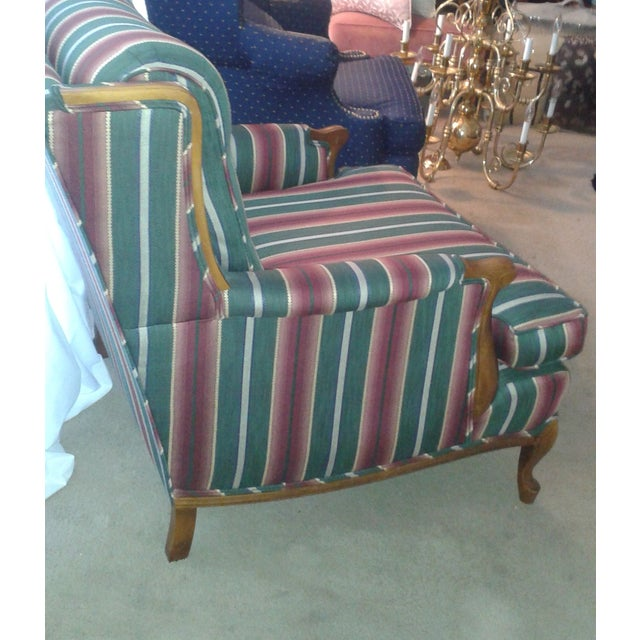 Striped French Provincial Arm Chair - Image 3 of 5