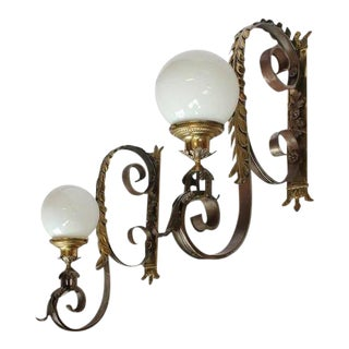 1920s American Bronze Wall Sconces - A Pair