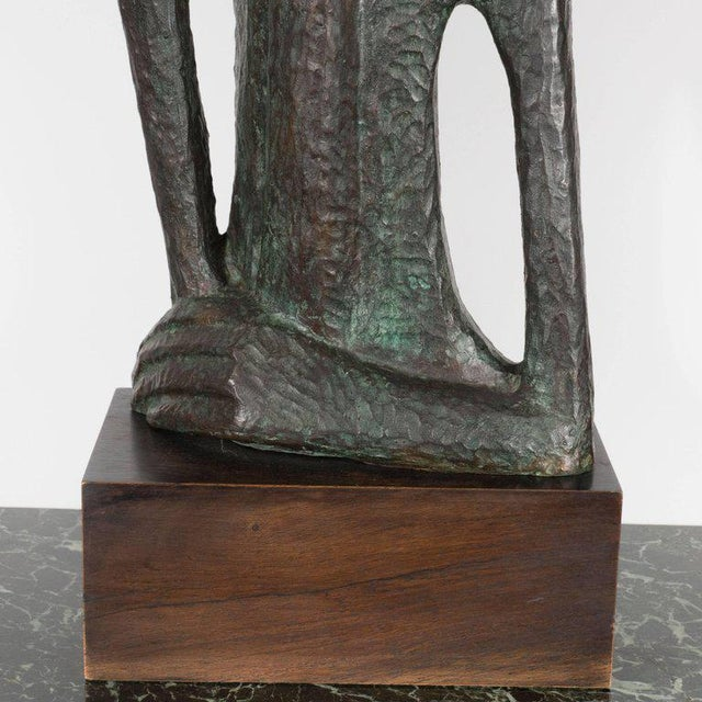 Signed Mid Century Modern Large Scale Patinated Bronze Sculpture For Sale - Image 9 of 10