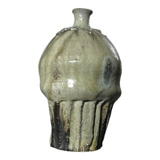 1990s Jeff Shapiro Glazed Stoneware Sake Bottle- Signed For Sale