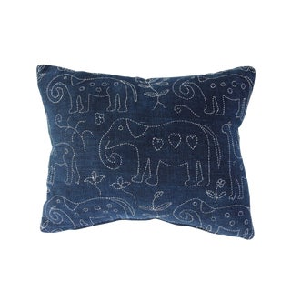 Indigo Folk Art Pillow