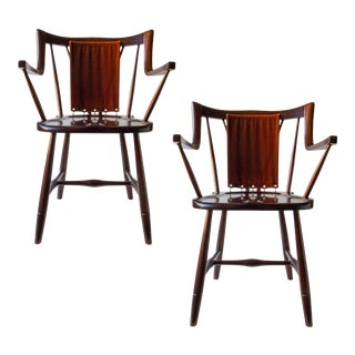 Eva & Nils Koppel, Danish Modern Stained Beech and Mohair Armchairs- A Pair For Sale