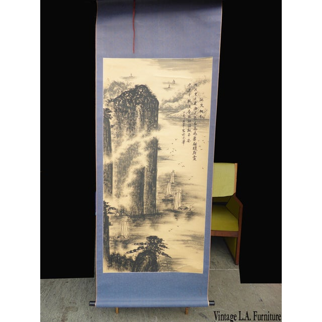 Vintage Japanese Mountains & Fishing Boats Scroll Painting - Image 11 of 11