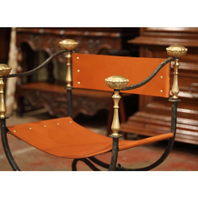 Late 19th Century 19th Century Italian Wrought Iron, Bronze and Tan Leather Campaign Armchair For Sale - Image 5 of 9