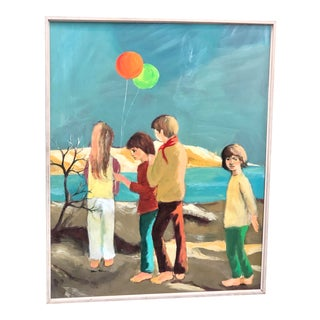 """1970s """"Cape Cod Children"""" Large Vintage Original Painting For Sale"""