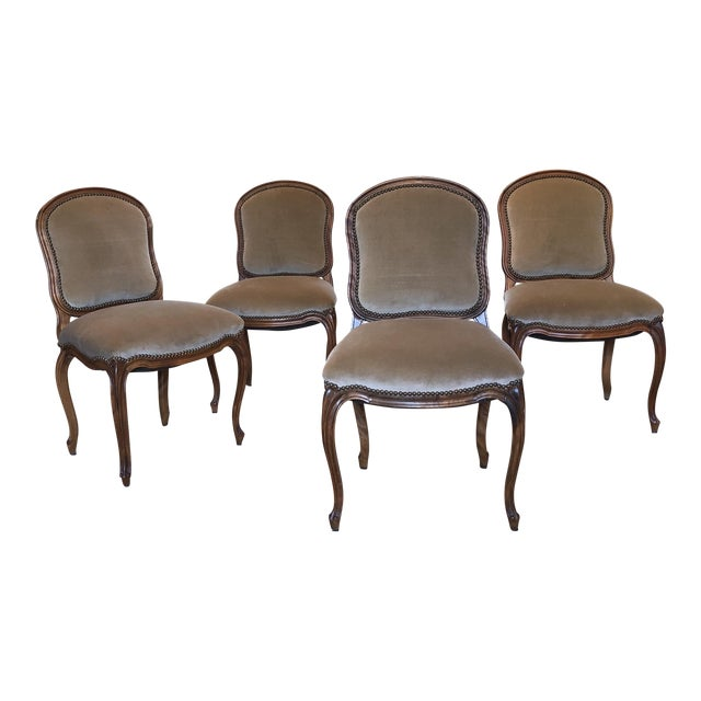 Louis XV Style Walnut Dining Chairs - Set of 4 - Image 1 of 9