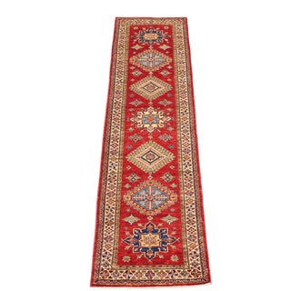 Classic Caucasian Kazak Design Runner All Wool Hand-Knotted - 2′7″ × 10′2″ For Sale