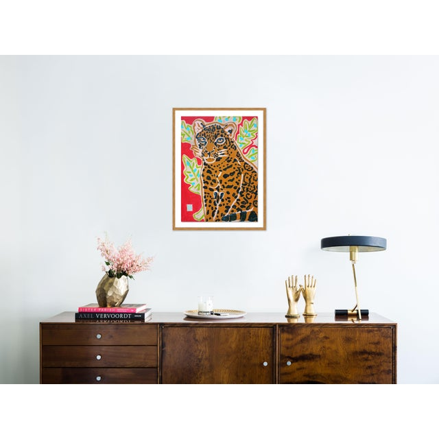 Contemporary Red Jaguar by Jelly Chen in Gold Framed Paper, Medium Art Print For Sale - Image 3 of 4