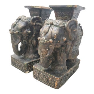 Vintage Stone Elephant Statues - a Pair For Sale