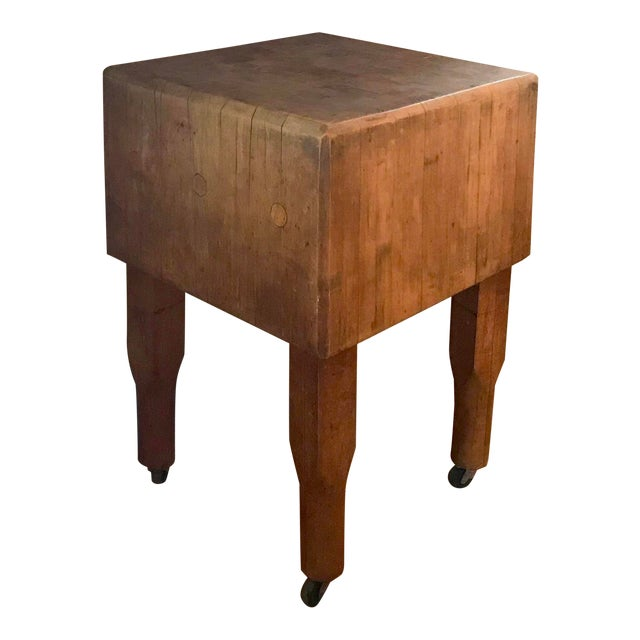 20th Century Rustic Wooden Butchers Block For Sale