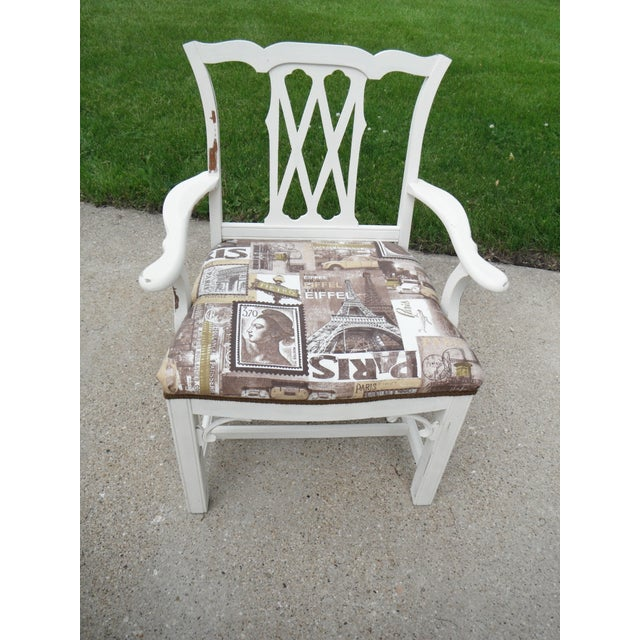 Shabby Chic Chippendale Style Captains Chair - Image 8 of 8
