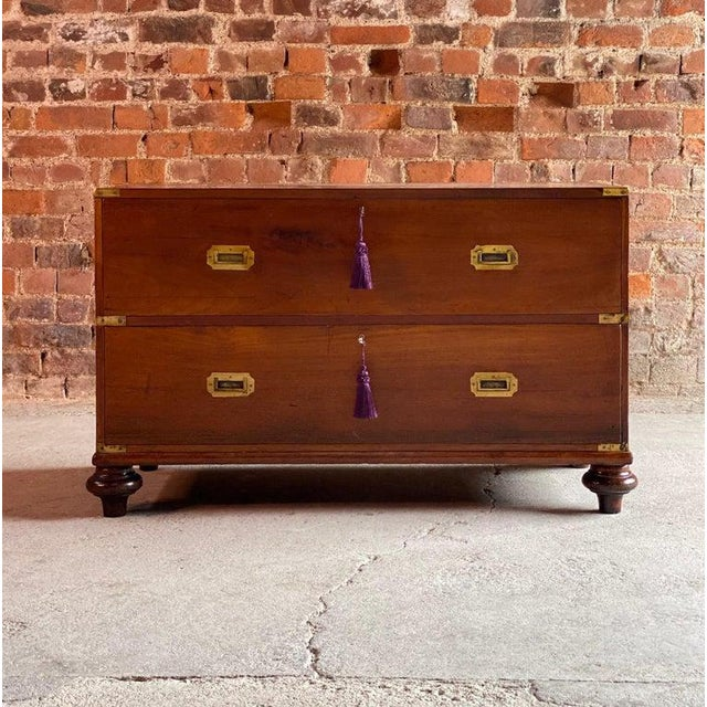 Wood 1850 Antique Campaign Teak Chest of Drawers For Sale - Image 7 of 13