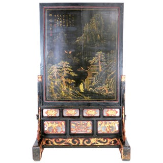 """Antique Chinese 93"""" Tall Black Lacquer & Gold Landscape Paintings Floor Screen For Sale"""