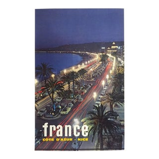 """Vintage 1964 Mid Century Modern """" France Cote d'Azur Nice """" Lithograph Print Collector's Travel Poster For Sale"""