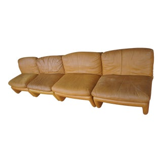 1980s Vintage Distressed Italian Leather Modular Sectional Lounge Chairs - Set of 4 For Sale