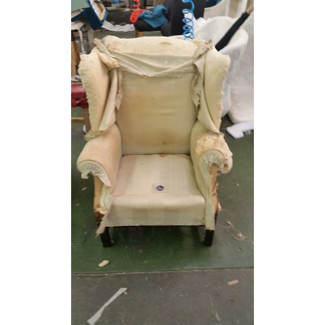 Refurbished Genuine Leather Wing Chair - Image 6 of 7