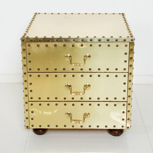 Gold Mid-Century Sarreid Spain Studded Brass Chest Three Drawer Nightstand For Sale - Image 8 of 8