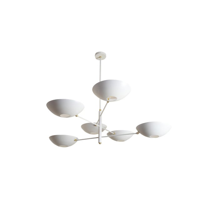 Large Counterbalance Ceiling Fixture, White Enamel + Brass by Blueprint Lighting For Sale In New York - Image 6 of 6
