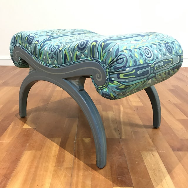 French 20th Century Grosfeld House Hollywood Regency X Vanity Bench For Sale - Image 3 of 7