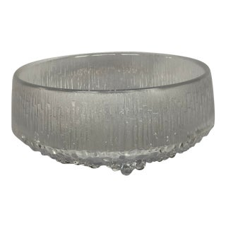 1970s Finnish Crystal Modern Art Glass Bowl For Sale