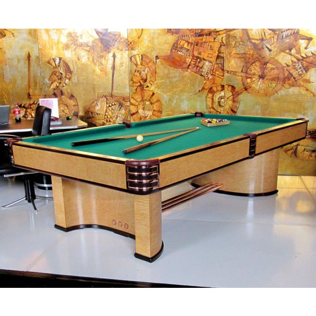 Green Donald Deskey Designed Brunswick Paramount Pool Table For Sale - Image 8 of 8
