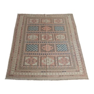 1990s Vintage Handwoven Muted Tones Rug For Sale
