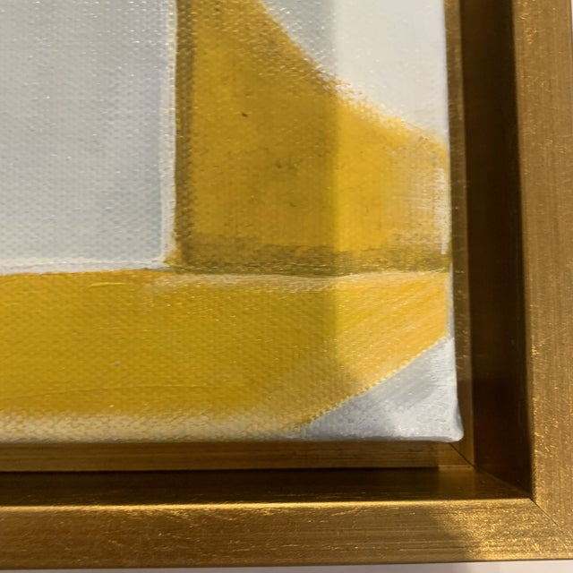 Custom Modern Abstract Yellow and White Painting from Houston Artist For Sale In Houston - Image 6 of 9