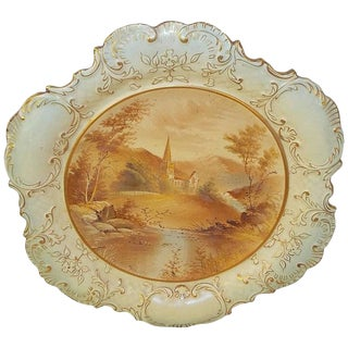 19th Century Early American Hand-Painted Porcelain Plate For Sale