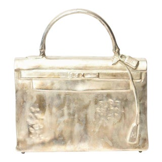 Silvered Bronze Limited Edition French Christian Maas Sculpture Birkin Bag For Sale