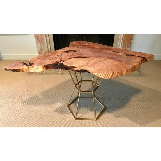 At Home Live Edge Coffee Table: Live Edge Coffee Table Maple Burl On Gilt Pedestal Base