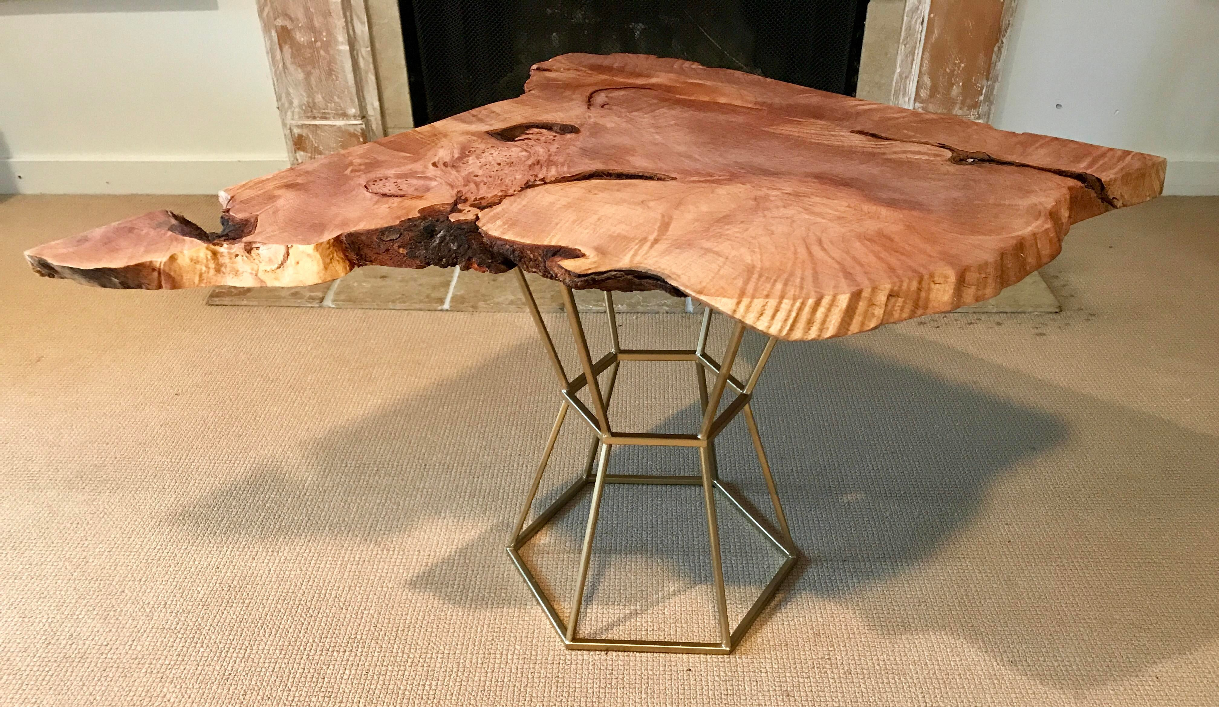 Live Edge Coffee Table Maple Burl On Gilt Pedestal Base   Image 4 Of 9