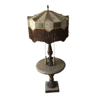 Vintage Automax Marble With Bronze Oversized Side Table Floor Lamp For Sale