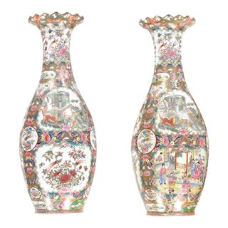 Chinese Polychrome Hand Painted Porcelain Vases-a Pair For Sale