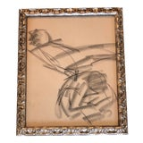 Image of Vintage Original Abstract Figure Charcoal Study Drawing 1960's Ornate Frame For Sale