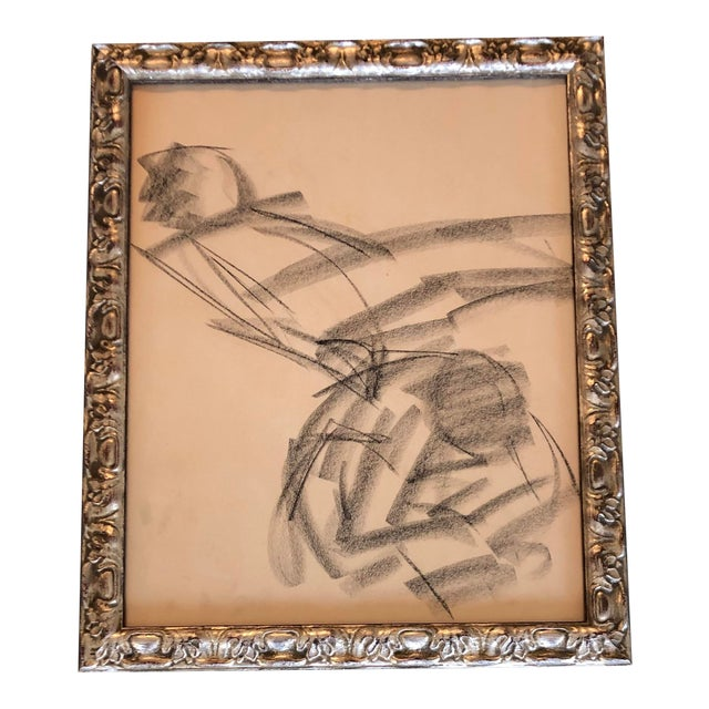 Vintage Original Abstract Figure Charcoal Study Drawing 1960's Ornate Frame For Sale