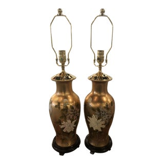 Vintage Chinoiserie Gold Leaf Brass Floral Birds Table Lamps -A Pair For Sale