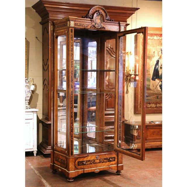 19th Century French Louis XVI Walnut Marquetry Vitrine With Glass Sides and Door For Sale - Image 10 of 13