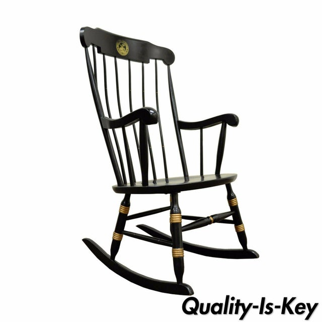 Vintage Sigill College University Nichols & Stone Windsor Rocking Chair Rocker. Item features black and gold painted...
