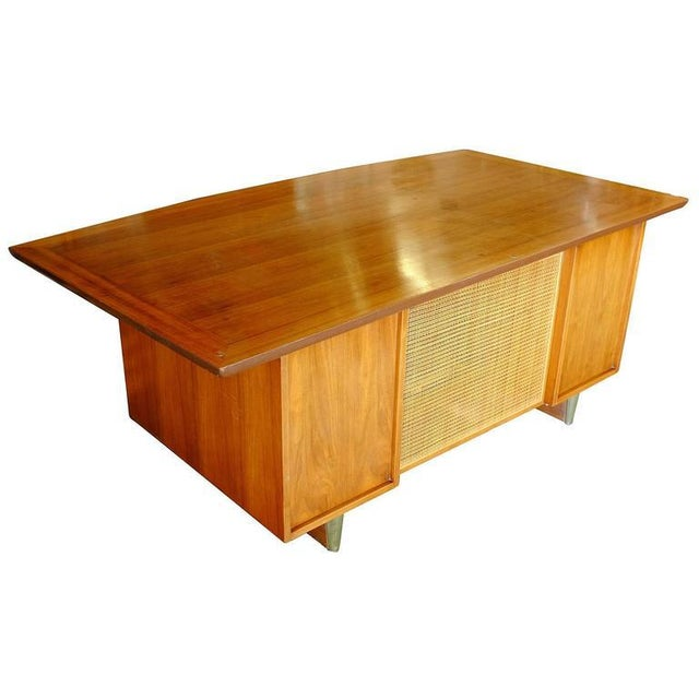 Mid-Century Mahogany Executive Desk With Brass Pulls - Image 4 of 10