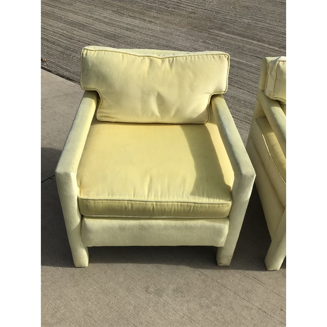 Yellow 1980s Vintage Yellow Velvet Milo Baughman Style Parsons Open Arm Club Chairs- A Pair For Sale - Image 8 of 12