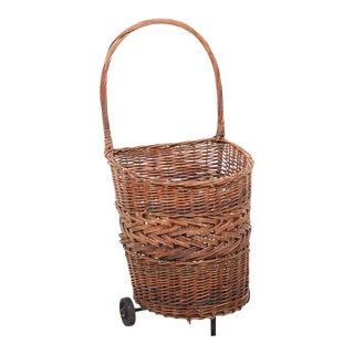 Early 20th Century Vintage French Rolling Market Basket For Sale