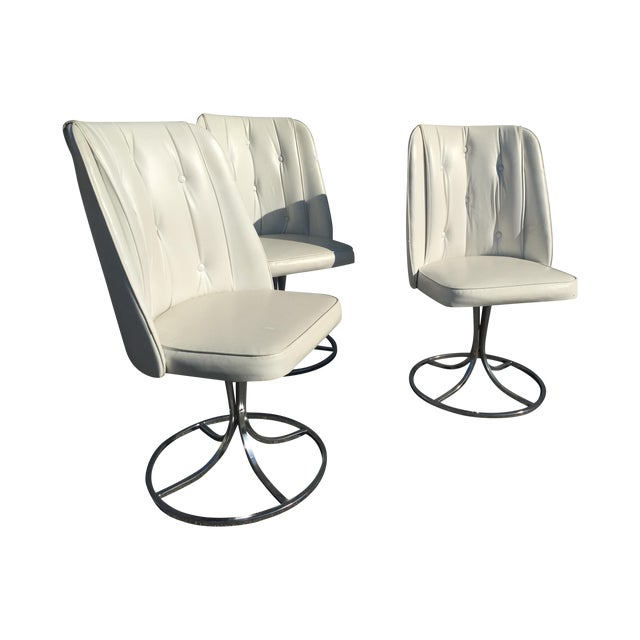 Vintage White Swivel Chairs - Set of 3 - Image 1 of 10