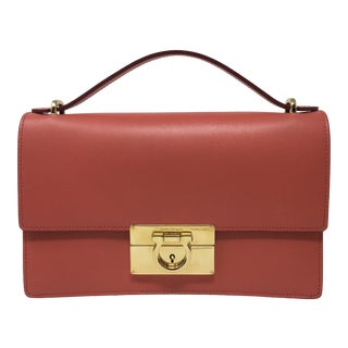 Beautiful Rouge Box Leather Salvatore Ferragamo Top Handle or Cross Body Bag For Sale